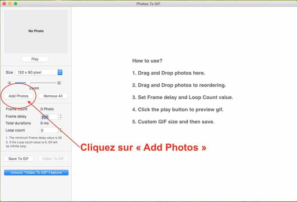 Importez les photos