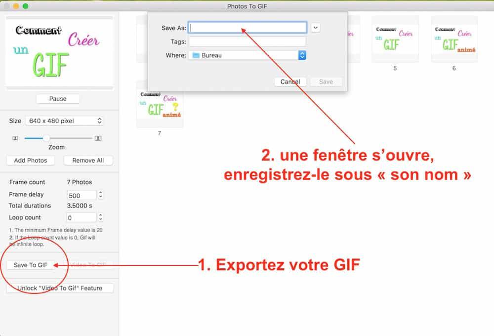 Sauvegarder le GIF