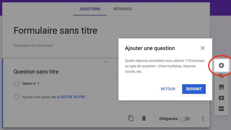 Google Form étape 2