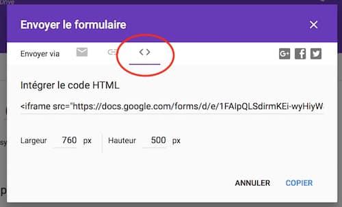 Intégrer Google Form sur WordPress