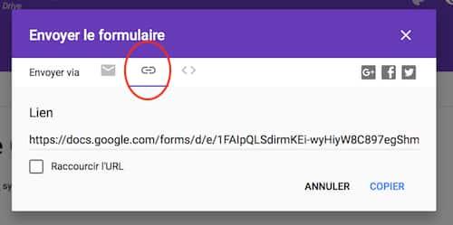 Lien formulaire Google Forms