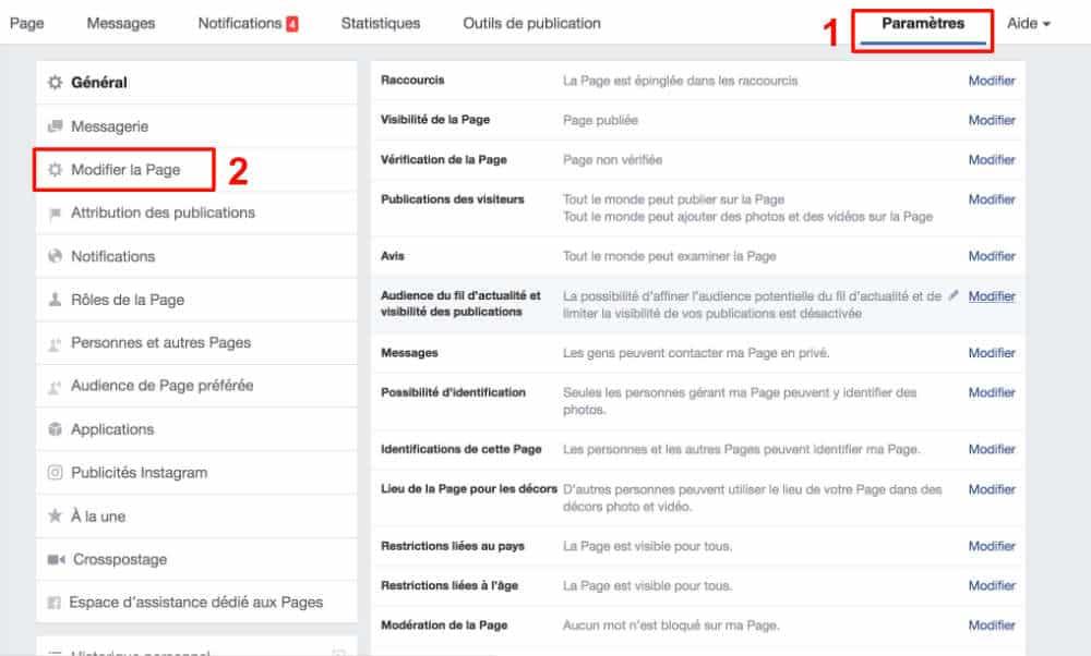 Créer ses services Facebook - étape 1