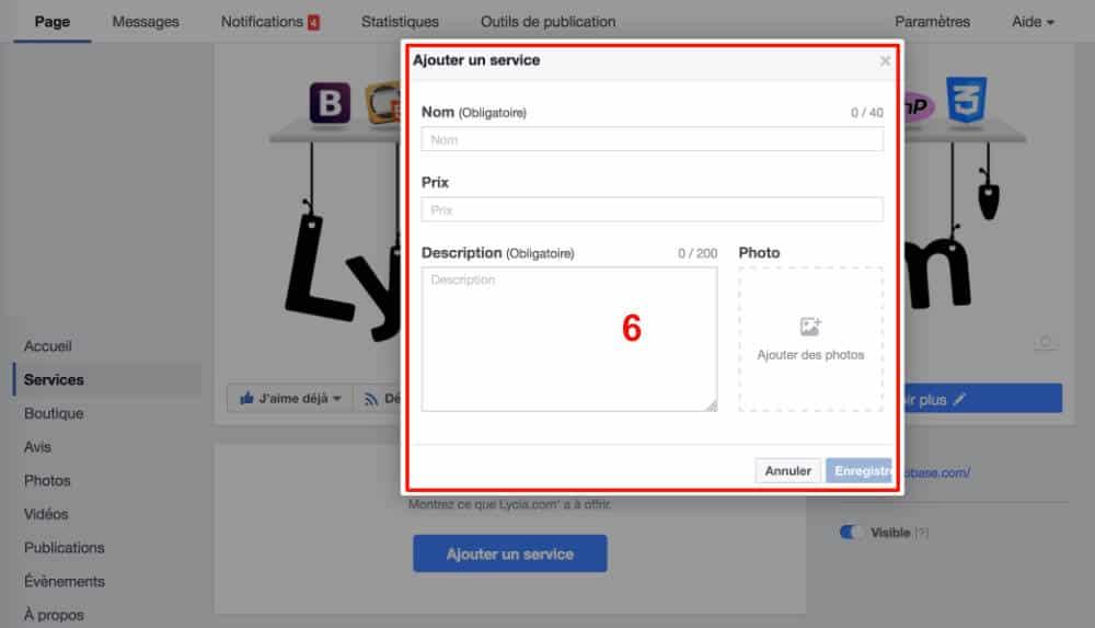 Créer ses services Facebook - étape 5