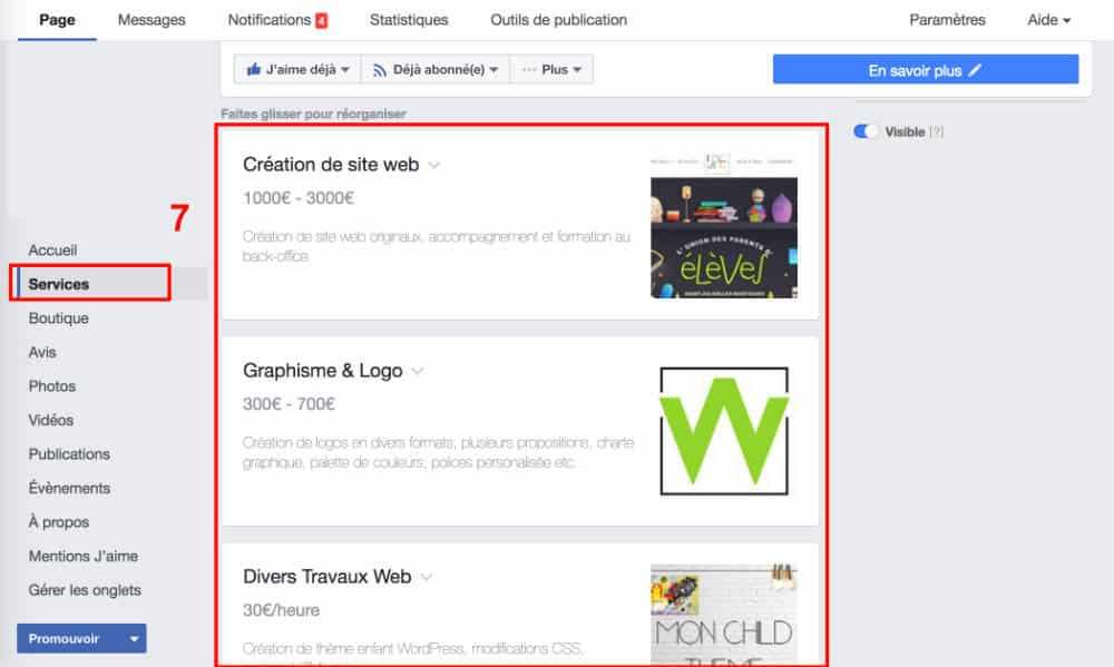 Créer ses services Facebook - étape 6