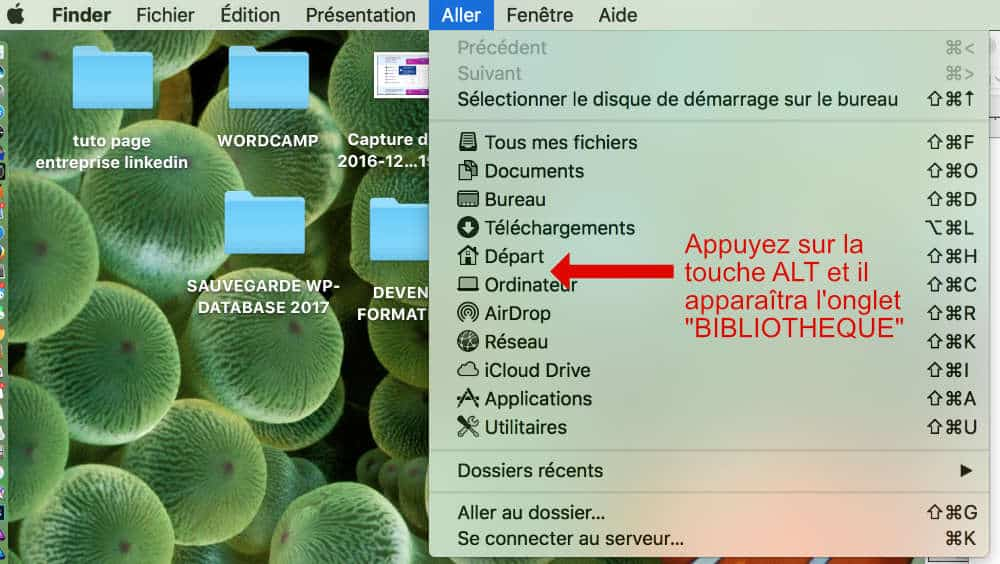 Onglet caché de la bibliothèque Mac OS Sierra