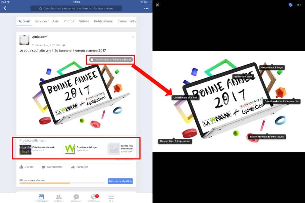 Produits affichés sur le post Facebook