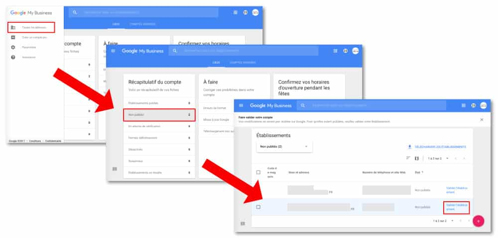 Validation du code Google My Business