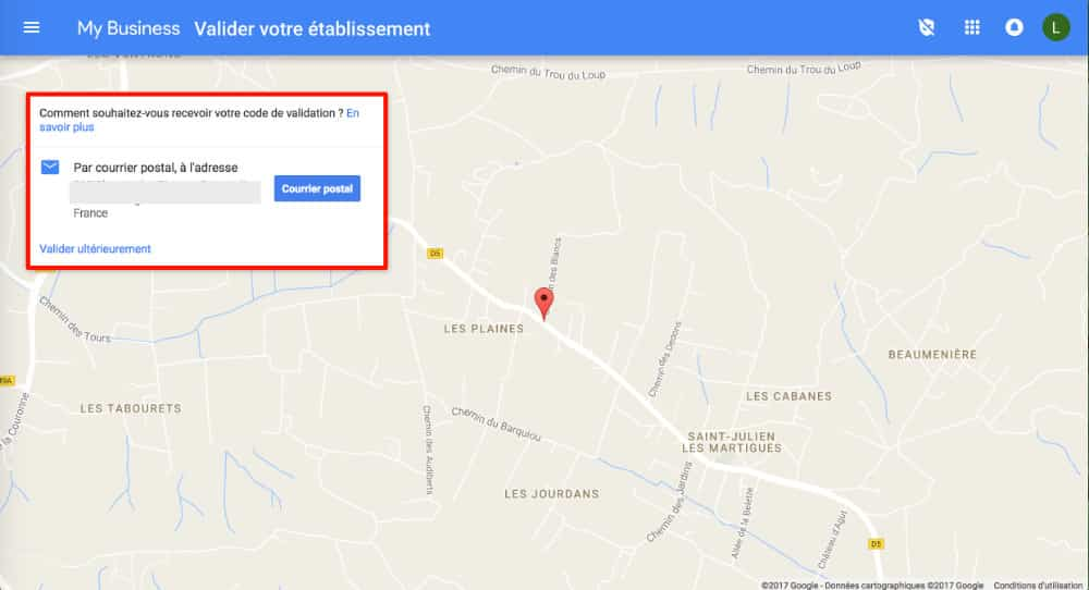 Code de validation Google My Business