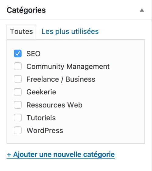 Catégories WordPress