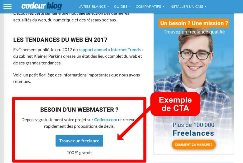 Exemple de CallToAction sur le blog de Codeur.com - blog d'entreprise