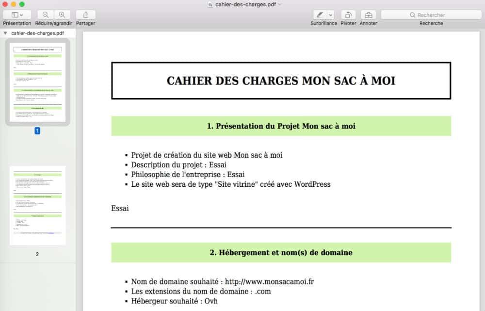 Cahier des charges généré au format pdf