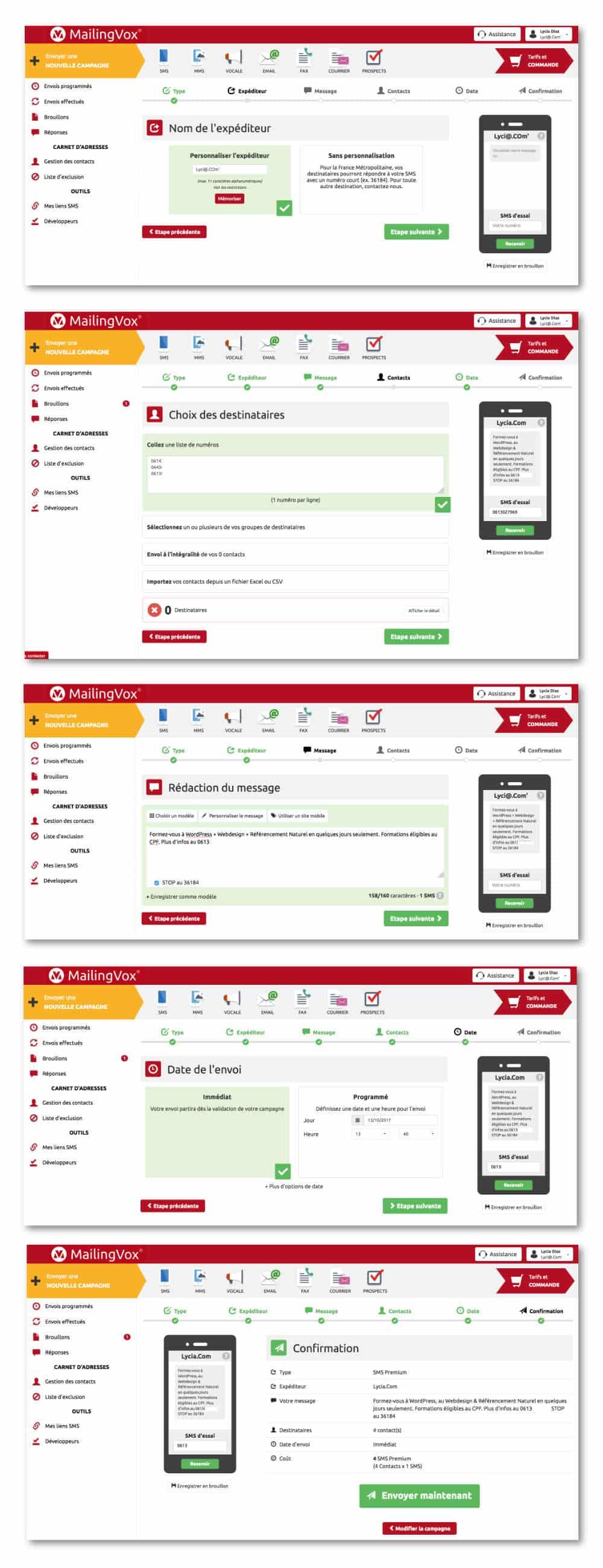 Réglages de la campagne SMS