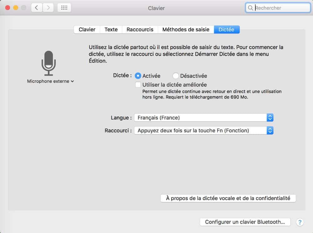 Activer la dictée vocale de Mac