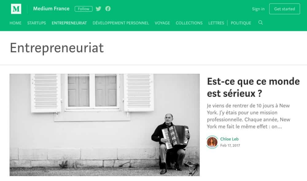 Le thème Entreprenariat est bien représenté sur Medium