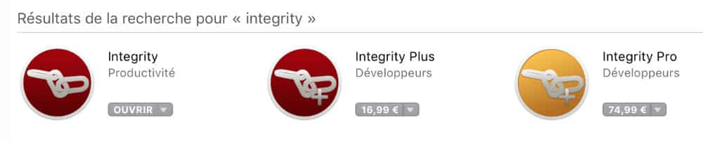 Intégrity version développeurs