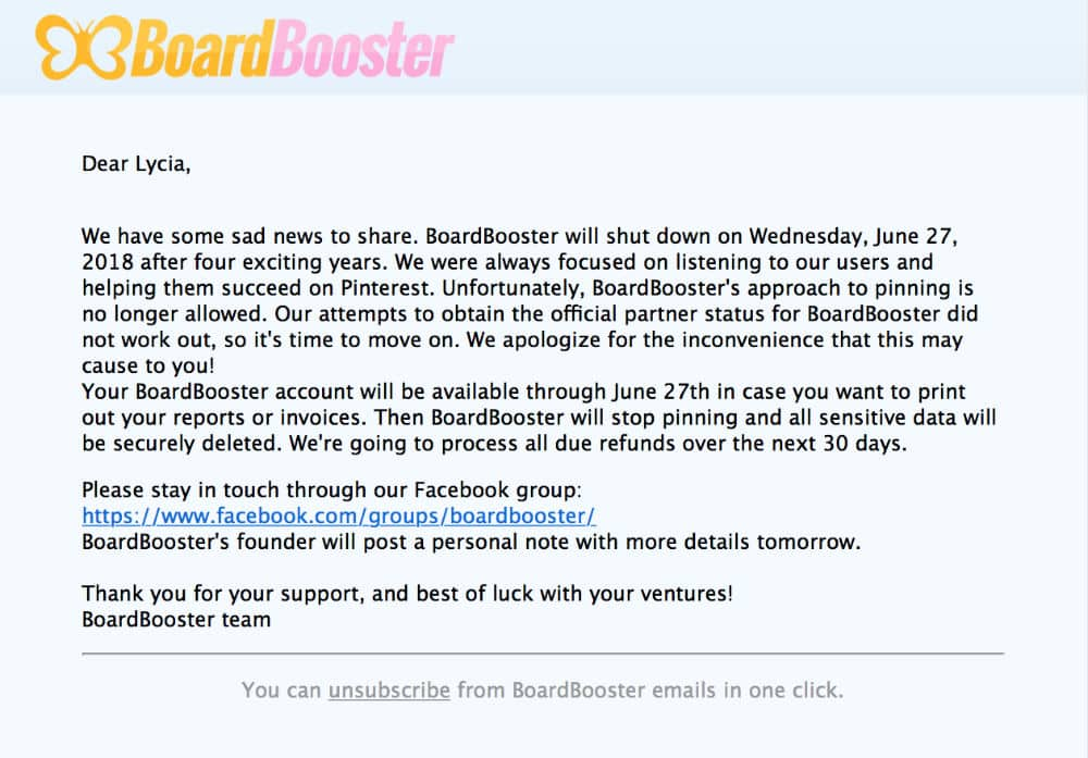 arrêt officiel de BoardBooster