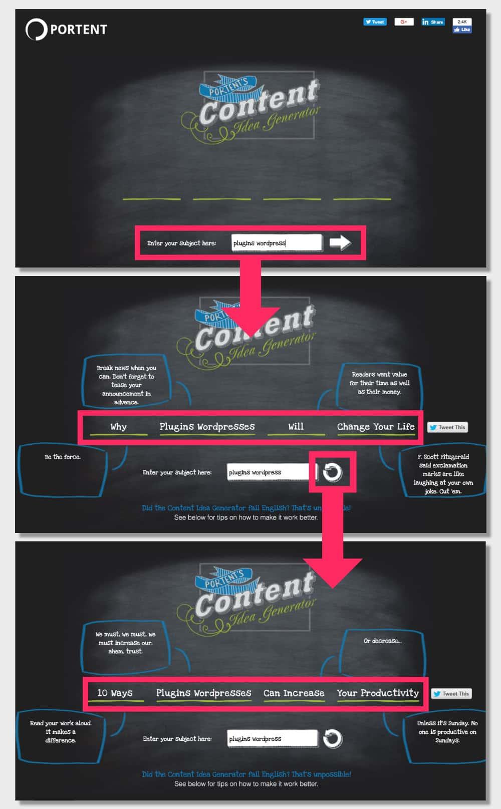 Portent's Content Idea Generator - outils SEO gratuits