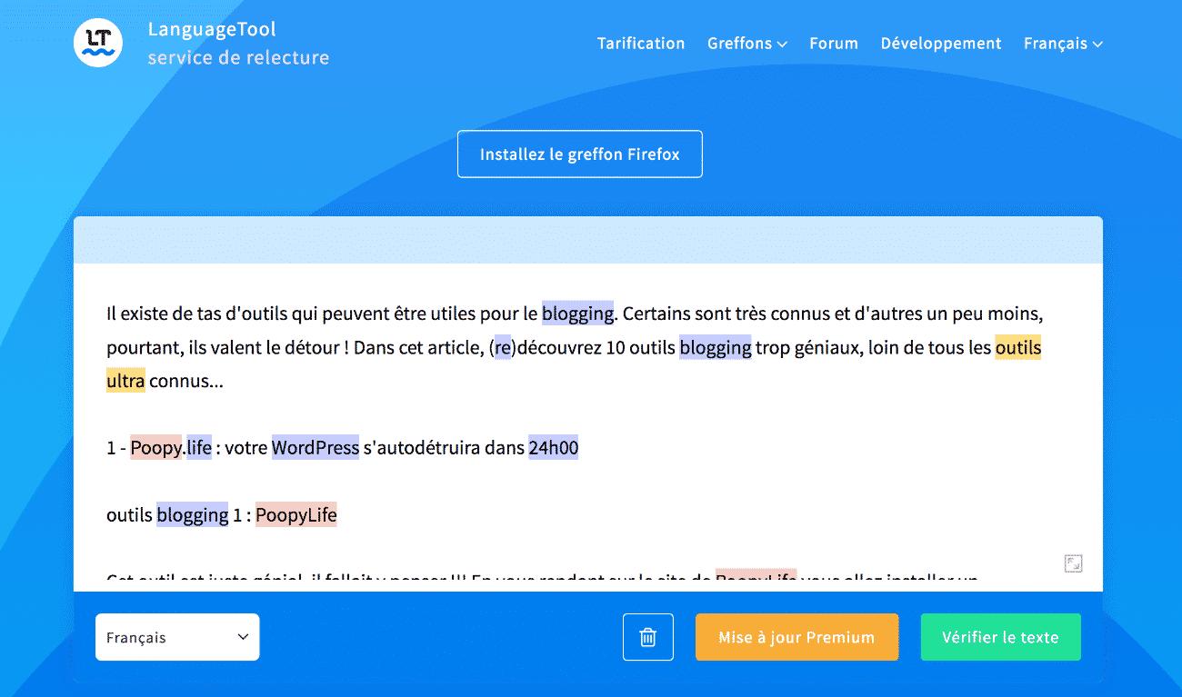 languagetool pour corriger les fautes d'orthographes