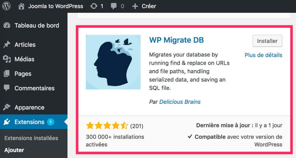 Plugin WP Migrate DB