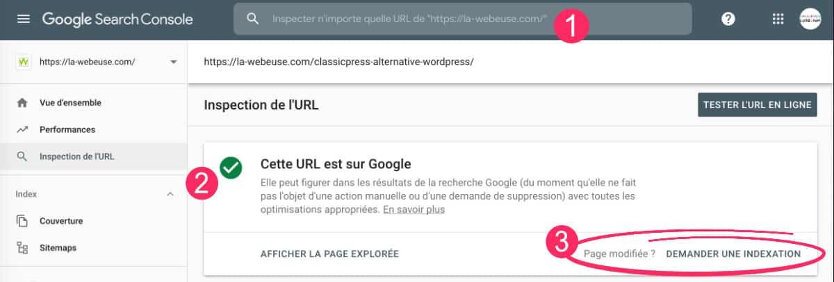 cache Google : demander une indexation