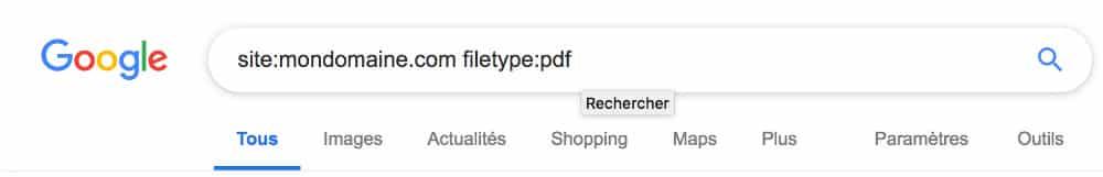 Commande filetype: associée à un nom de domaine