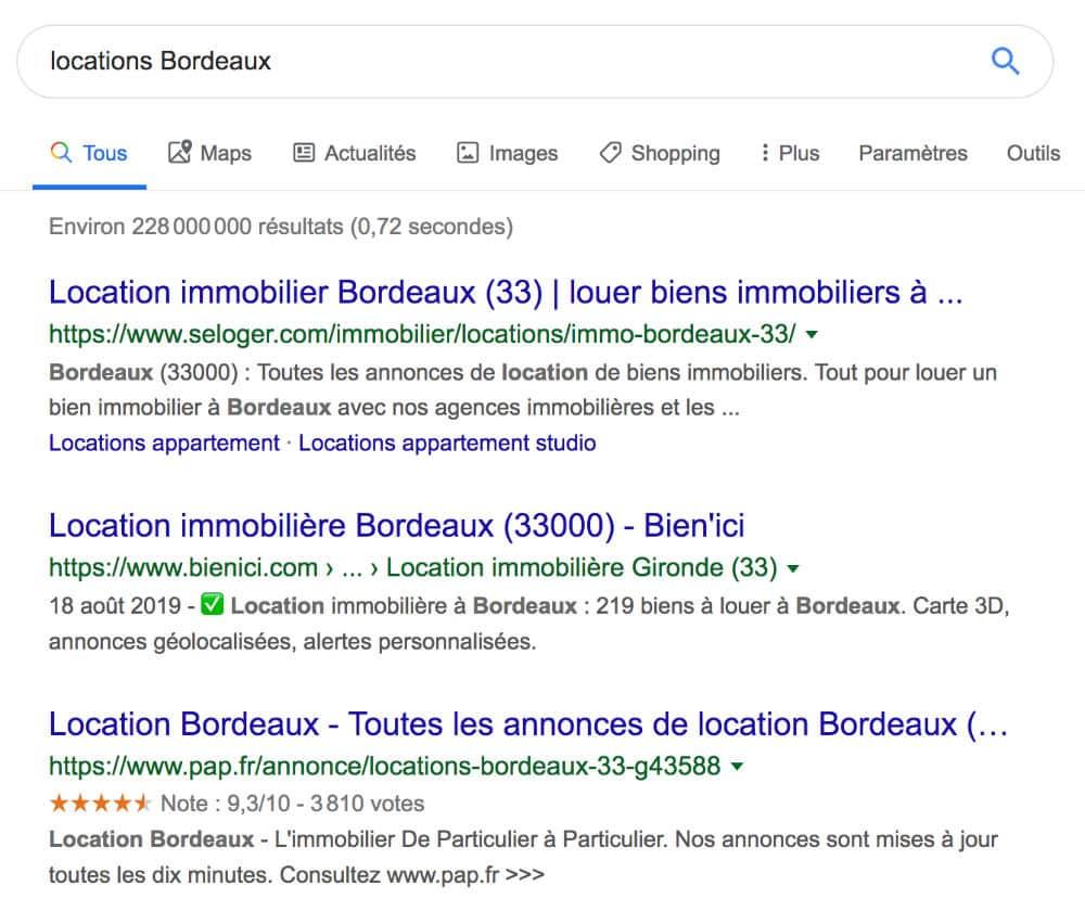 """Résultats naturels de la requête """"locations Bordeaux"""""""