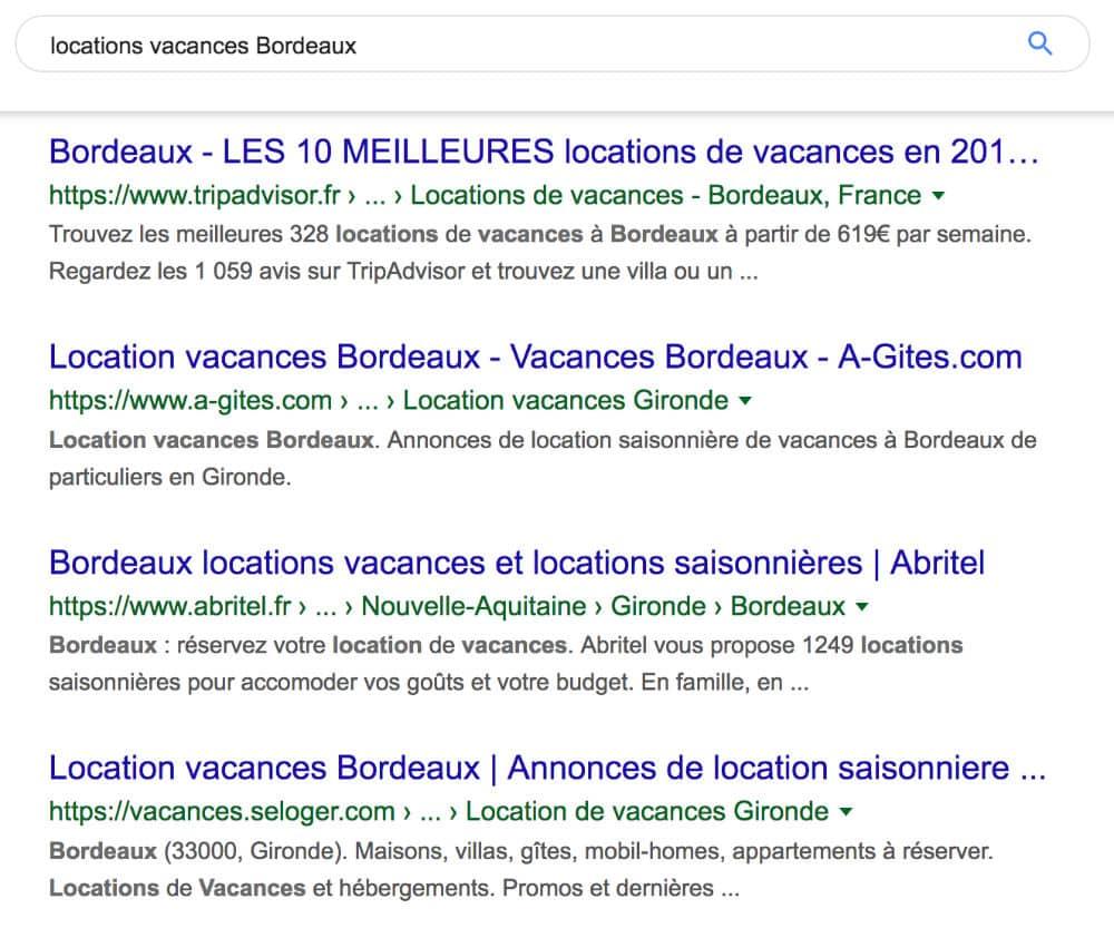 """Résultats naturels de la requête """"locations vacances Bordeaux"""""""