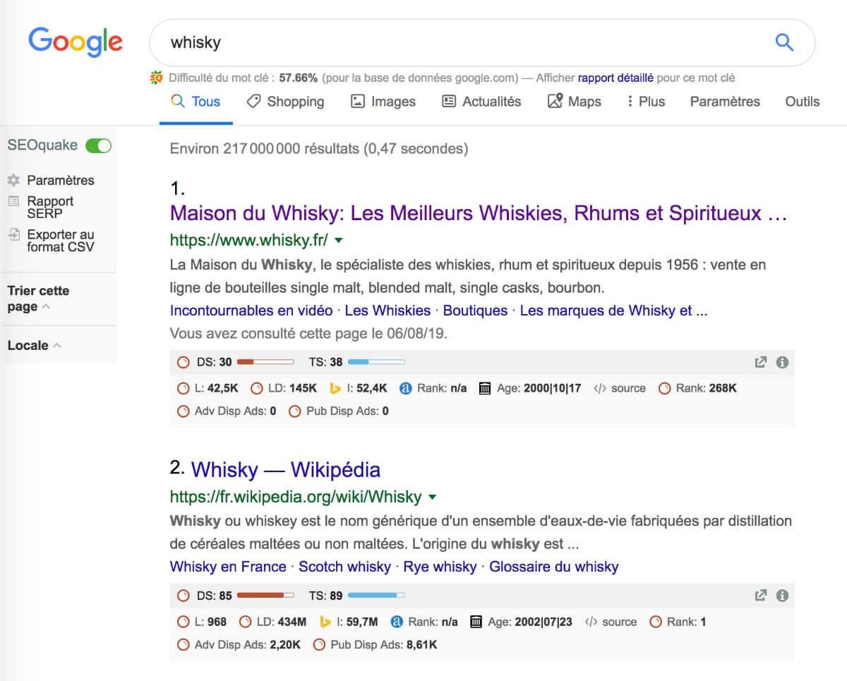 """Position n°1 sur la requête """"whisky"""""""
