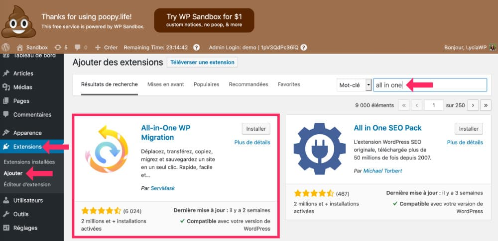 Migrer WordPress avec All In One WP Migration