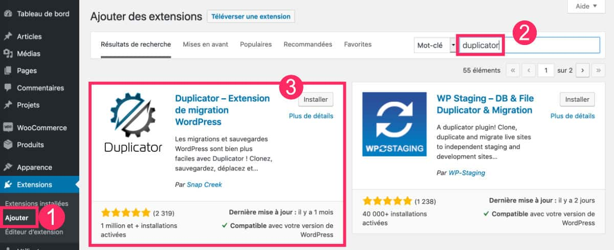 Duplicator plugin de migration WordPress
