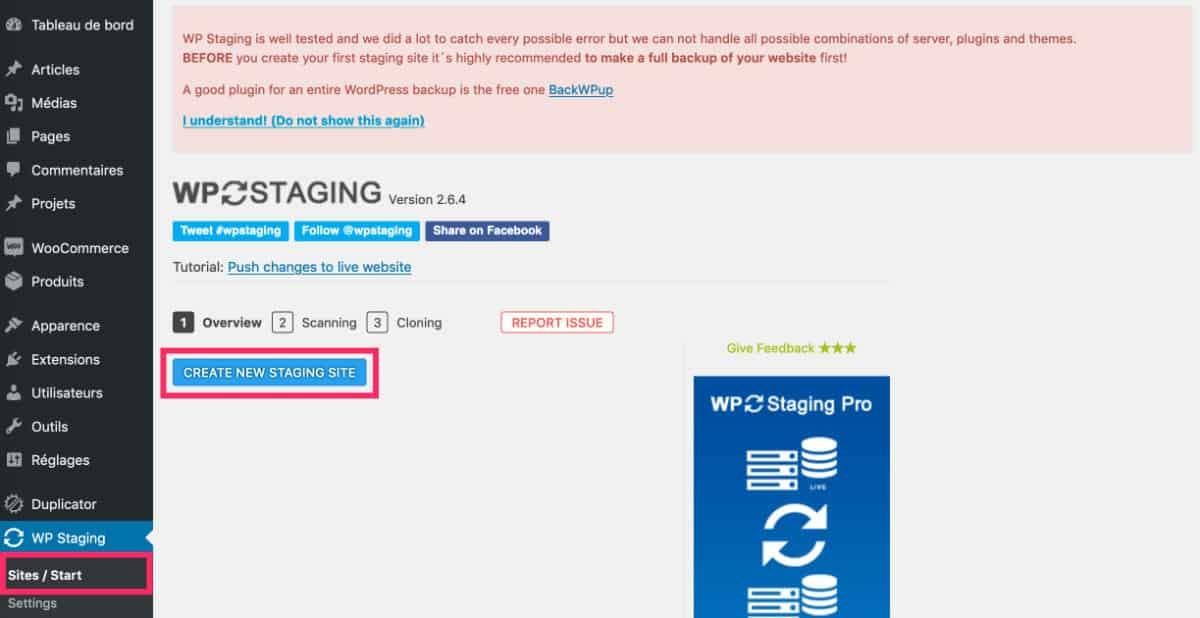 Débuter avec WP Staging