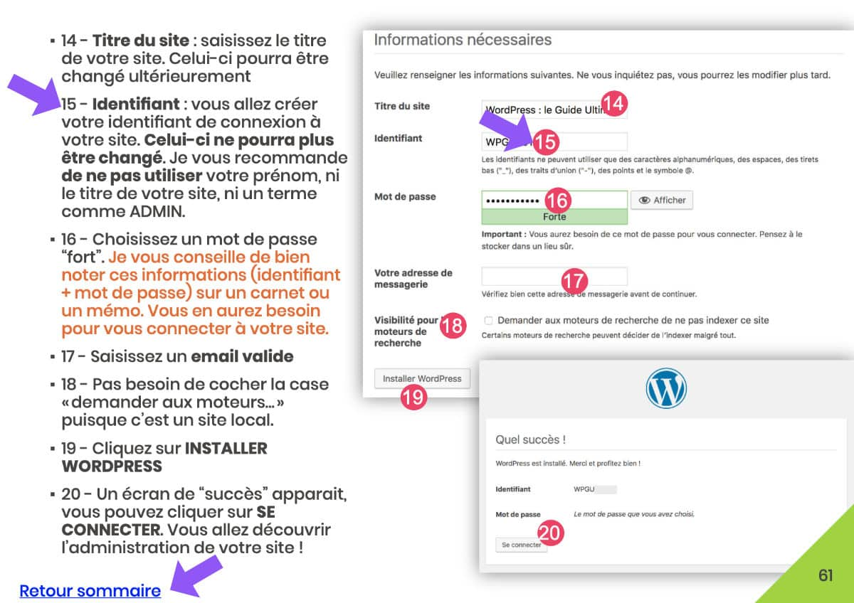 exemple de tutoriel WordPress