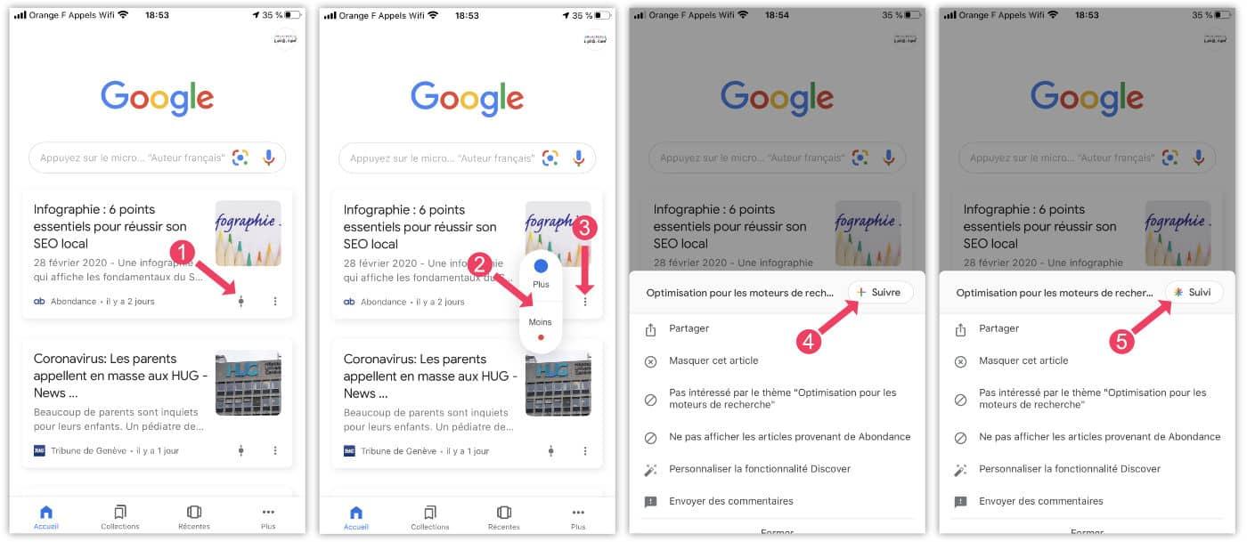 Options d'affichage du flux de Google Discover