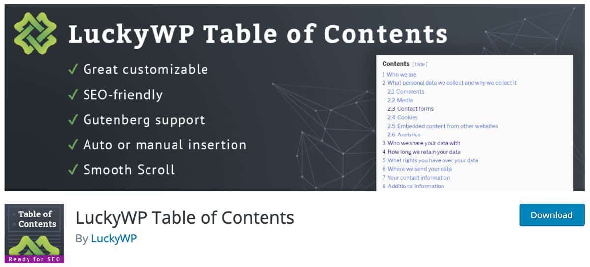 Luckywp Table Content