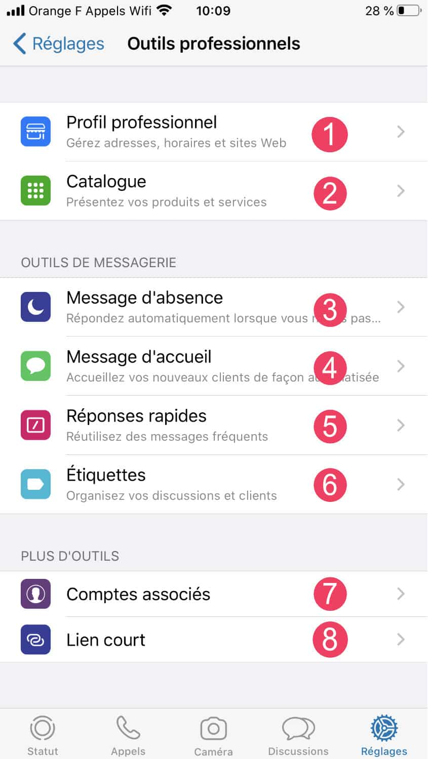Whatsapp Business : outils professionnels