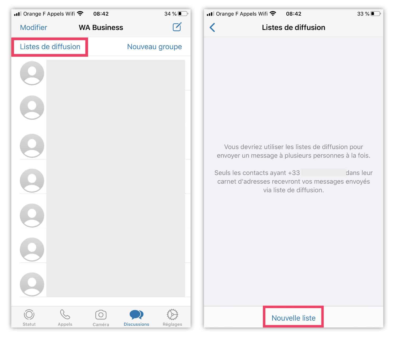 Whatsapp Business : liste de diffusion