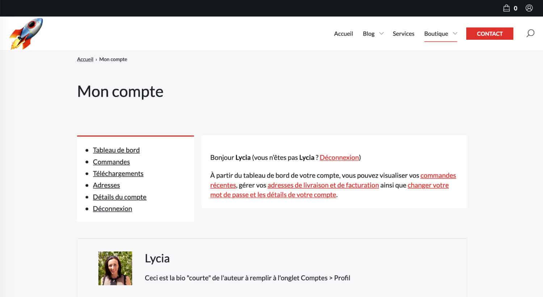 """Page """"Mon Compte"""" de WooCommerce"""