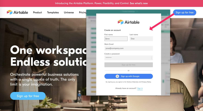 Créer un compte Airtable