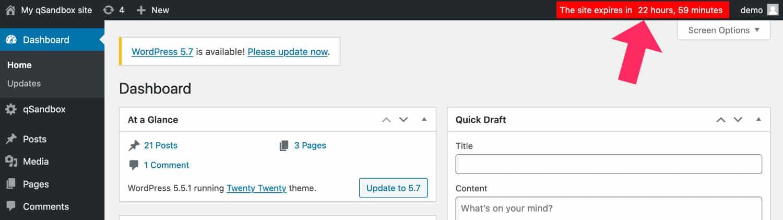 Site WordPress à durée limitée