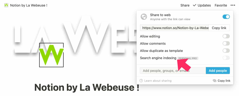 Indexation des site web Notion