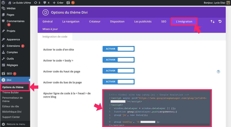 Script de suivi dans le site à l'aide du thème Divi