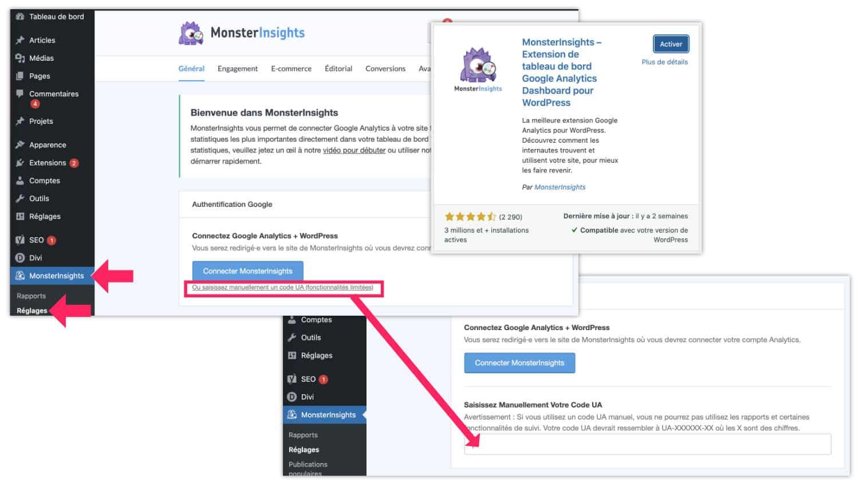 Script de suivi dans le site à l'aide de MonsterInsights