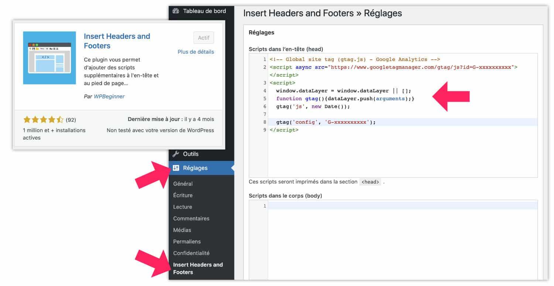 Script de suivi dans le site à l'aide d'une extension