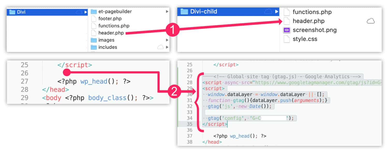 Code Google Analytics dans header.php