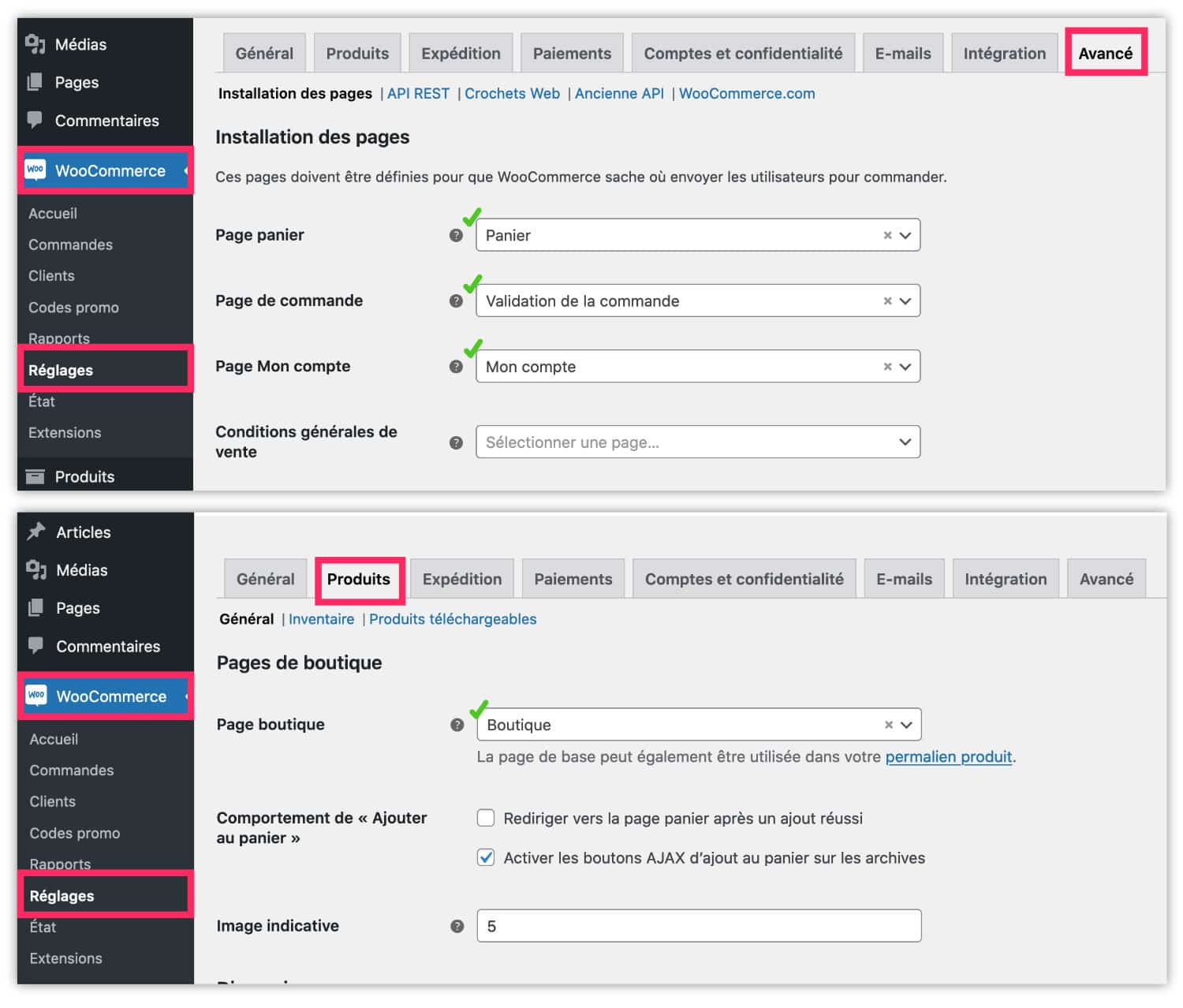 assigner les pages WooCommerce