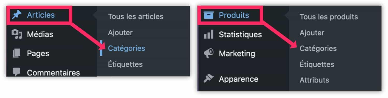 categories articles produits