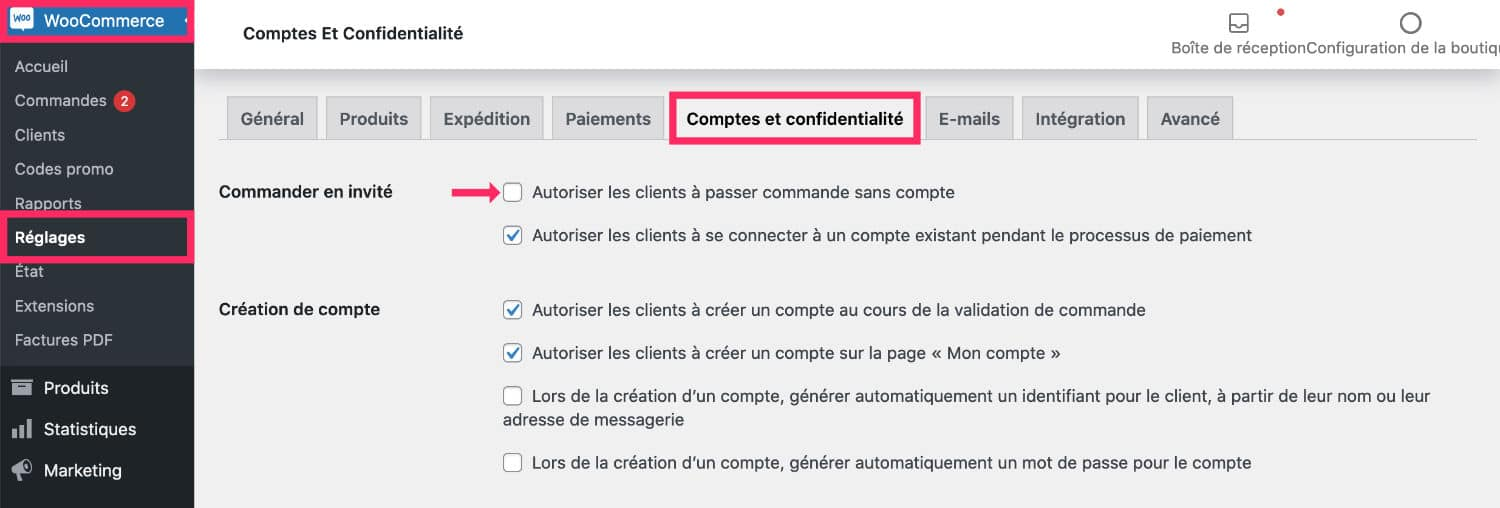 WooCommerce : page Mon Compte