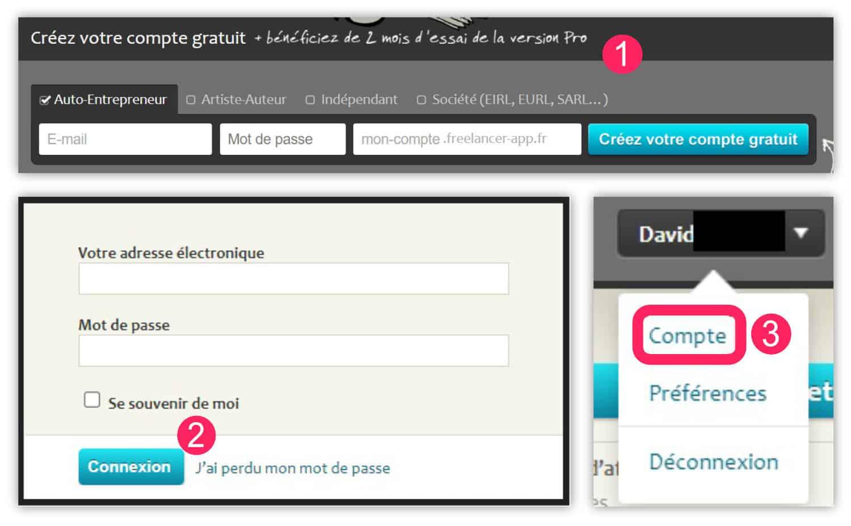 Freelancer App - créer son compte