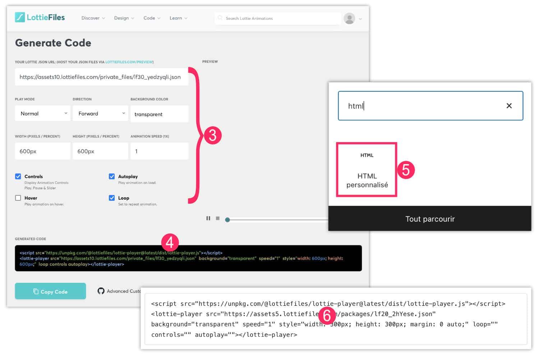 Lottie WordPress Gutenberg bloc HTML