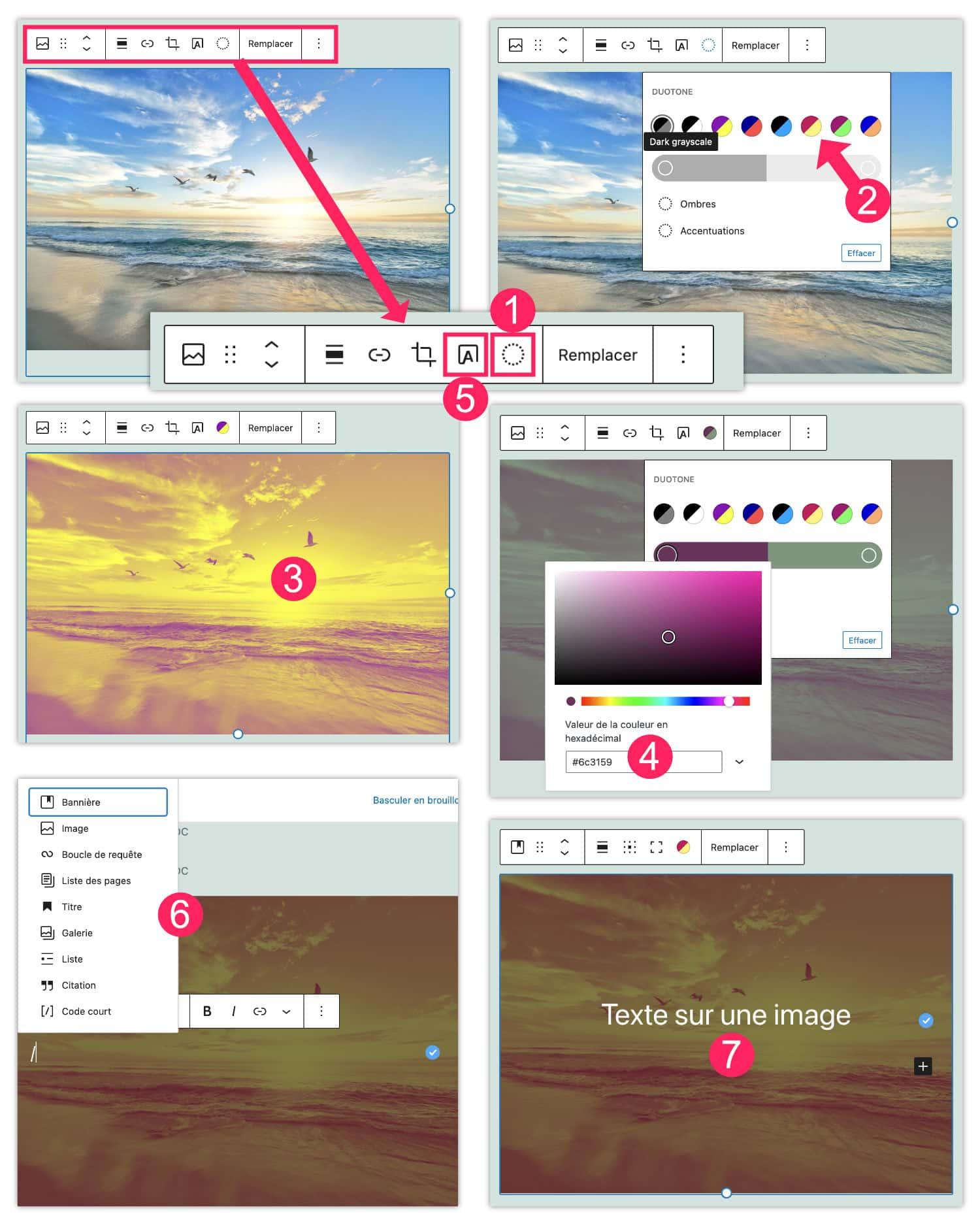 filtres images texte